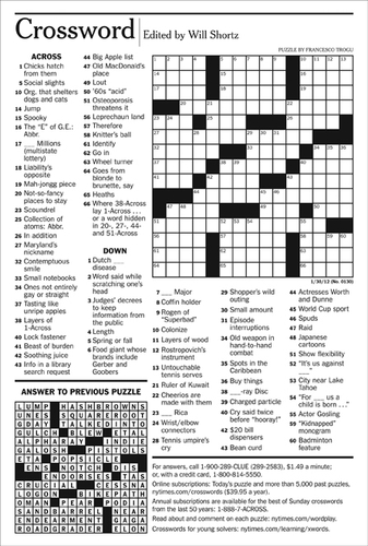 ... New York Times Crossword Puzzle by Francesco Trogu - January 30, 2012